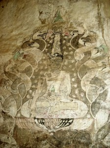 Painted murals at Phayathonezu temple, Bagan, Burma