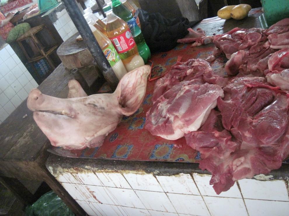 Fresh pork, Cambodia