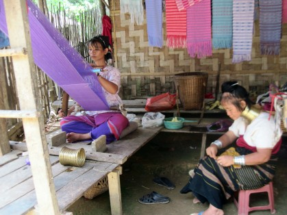 """Long neck women"", making handicrafts, Ban Nai Soi- Thailand"