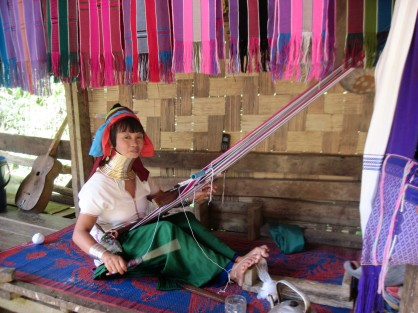 """Long neck woman weaving,"" Ban Nai Soi- Thailand"