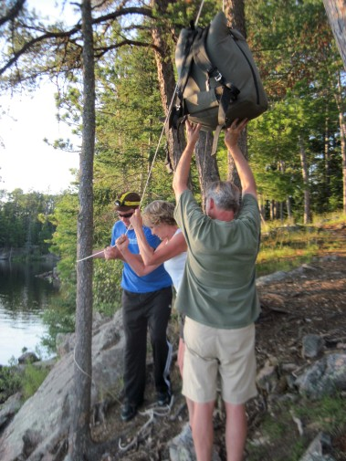 Raising the bear bag- Boundary Waters, MN