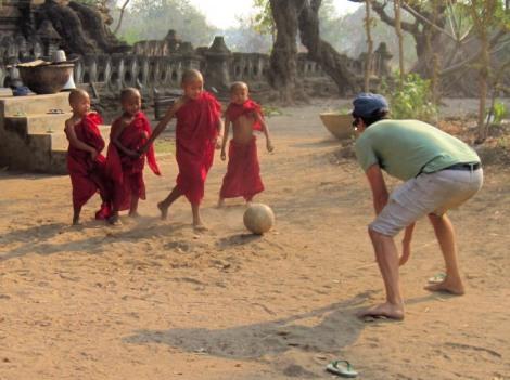 monks play soccer in Halin Myanmar