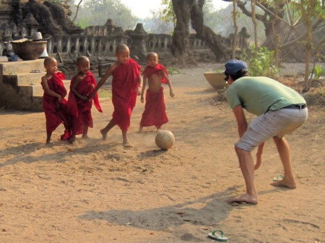 monks play soccer in Halin Myanmar
