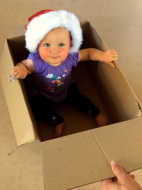 baby in Christmas box