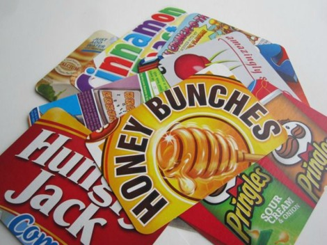 Infarrantly Creative cereal box postcards