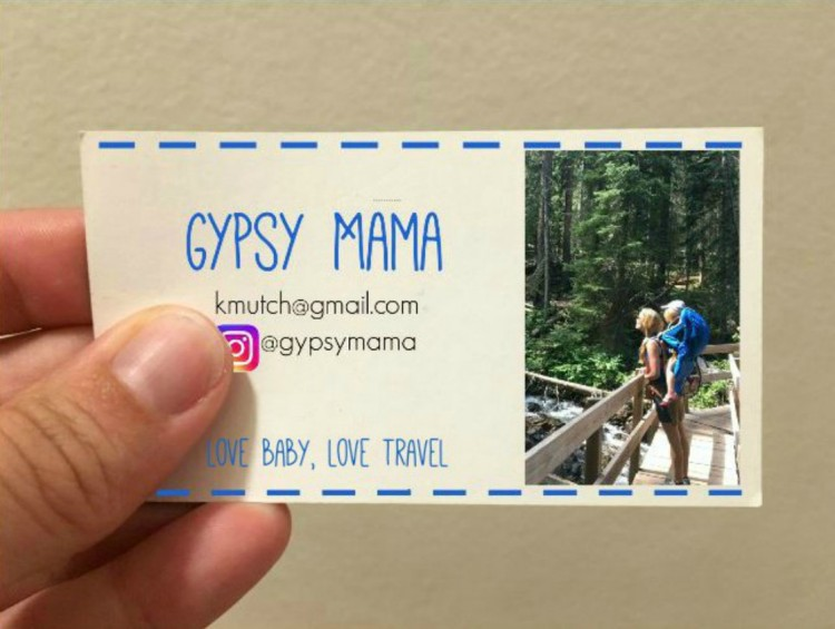 Gypsy Mama long-term travel business card