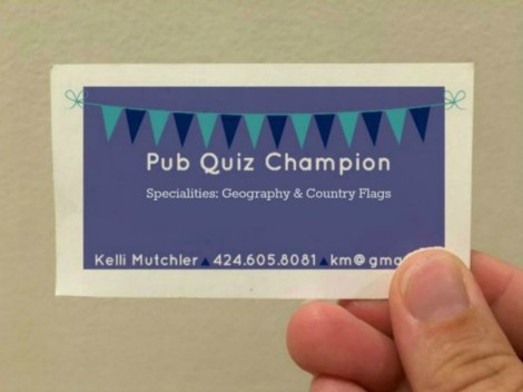 Pub Quiz Champion long-term travel business card