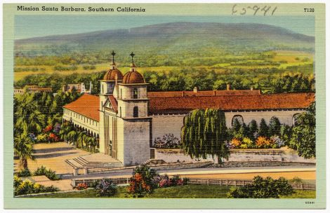 postcard Mission Santa Barbara