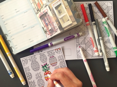 adult coloring, travel letter